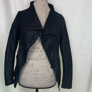 H&M DIVIDED Black Faux Leather Jacket Size 4